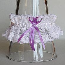 Bielizeň/Plavky - Čipkovaný podväzok s farebnou mašličkou - na výber z 11 farieb (Bordová) - 9663117_