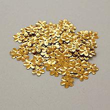 Galantéria - Flitrové kvietky - 1 balenie 100 ks - zlaté - 9663518_