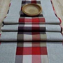Úžitkový textil - Káro vo farbách zeme - stredový obrus (160 cm x 40 cm) - 9663075_