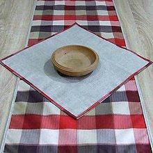 Úžitkový textil - Káro vo farbách zeme - obrus obdĺžnik 98x40 - 9664570_