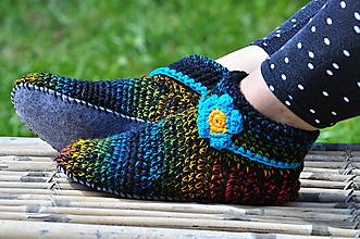 Obuv - farbičky-papuče pošité filcom 38-39 - 9666027_