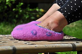 Obuv - ružové plstené papuče - 9666133_