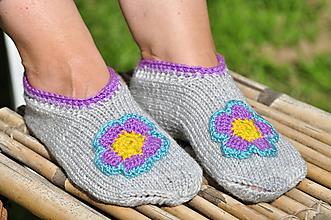 Obuv - sivé,pletené papuče - 9666188_