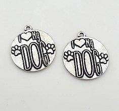 Komponenty - Prívesok s nápisom I ♥ MY DOG - 9664932_