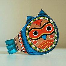 Odznaky/Brošne - Sova modrá - kožená brož s malbou - 9664443_