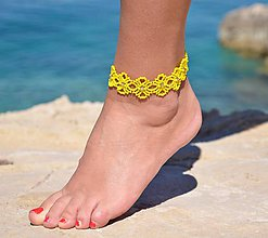 Náramky - Náramok na nohu, žltý kvietkovaný (Žltá) - 9665193_