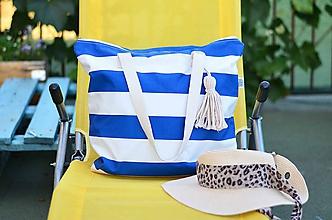 Veľké tašky - Plážová taška so strapčekom - 9668627_