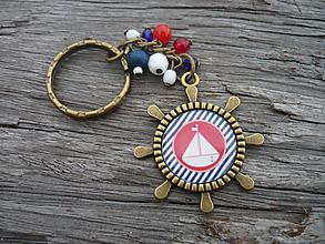 Kľúčenky - ZĽAVA - VÝPREDAJ :) Kľúčenka Námornícka lodička a prúžky - 9666621_