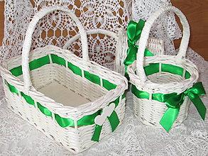 Košíky - Košíky - Svadobná súprava slonia kosť so zelenou - 9666900_