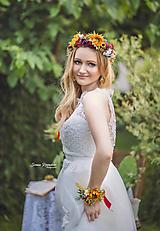 Ozdoby do vlasov - Bohato zdobený kvetinový venček so slnečnicami - 9668310_