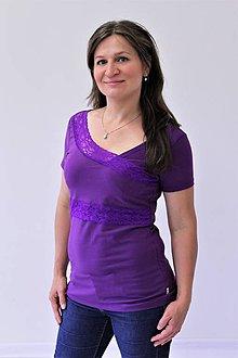 Tehotenské/Na dojčenie - 3v1 tričko pre tehotné, dojčiace, nedojčiace - kr. rukav, s čipkou - 76 farieb - L - XXL - 9666286_