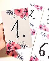Grafika - Svadobné číslovanie stolov (6ks) - 9667992_