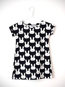 Detské oblečenie - Šaty s krátkym rukávom králiky čierná (vel. 92-110) - 9667079_