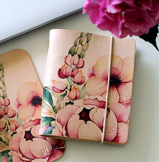 Papiernictvo - Kožený zápisník/karisblok PEONYA6 (Karisblok PEONY A5) - 9667656_