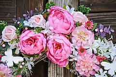Dekorácie - Ružovo-biely veniec Domov - 9669095_