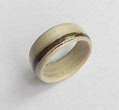 Prstene - Drevený prsteň- Eben biely - 9666218_