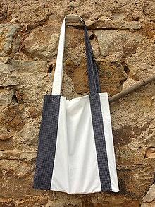 Nákupné tašky - modro bílé kostičky - 9667712_
