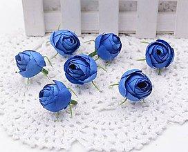 Polotovary - Púčiky ružičky 2 cm  (Modré) - 9666575_