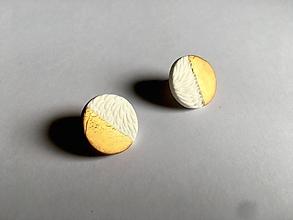Náušnice - bielozlaté kolieska - 9666640_