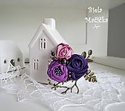 Art brošňa 1 - ruže kvetinky fialovo ružová