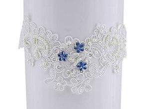 Bielizeň/Plavky - Svadobný podväzok ivory s čipky vyšívanej perličkami a flitrami 55 - 9668334_