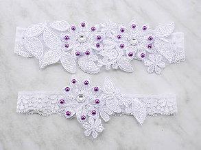 Bielizeň/Plavky - Sada svadobný podväzok bielý s čipky vyšívaný SS1 (Šedá) - 9669144_