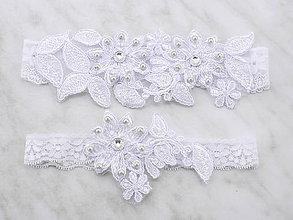 Bielizeň/Plavky - Sada svadobný podväzok bielý s čipky vyšívaný SS2 (Šedá) - 9669162_