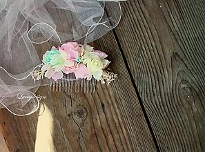 Ozdoby do vlasov - svadobný hrebienok: pink&mint - 9666595_