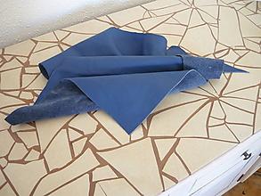 Suroviny - Koža modrá farbená- odrezky, dopredaj - 9672522_
