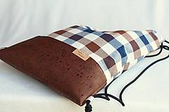 Batohy - Vak uťahovací - hnedý korok & káro - 9671285_