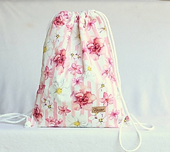 Batohy - Vak uťahovací - ružové pruhy & kvety - 9671333_
