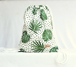Batohy - Vak uťahovací - zelené listy a bodky - 9671535_