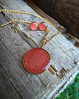 Sady šperkov - Červená okrúhla sada šperkov - 9669665_
