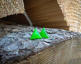 Náušnice - Trojuholníčky 10 mm (zelené) - 9670838_