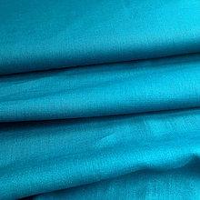 Textil - 100 % ľan tmavý petrolej, šírka 150 cm, cena za 0,5 m - 9671216_