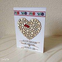 Papiernictvo - Srdiečkový telegram - doplnok k srdiečkovému srdcu (S folk stužkou) - 9671452_