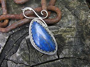 Náhrdelníky - Strieborný prívesok Ag925 Lapis Lazuli - 9670835_