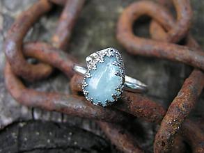 Prstene - Strieborny prsteň Ag925 Akvamarín - 9670850_