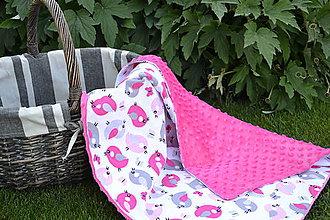Textil - Ružová minky deka s vtáčikmi - 9669952_
