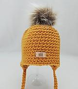 Detské čiapky - Horčicová detská zimná čiapka s kožušinkou - 9670043_