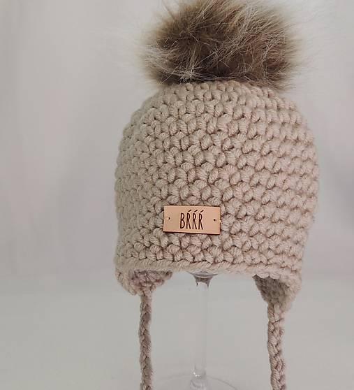 f32cf0335 Béžová detská zimná ušianka s kožušinkou / terilh - SAShE.sk ...