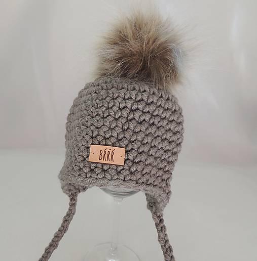661eaaeab Šedo hnedá detská zimná čiapka s kožušinkou / terilh - SAShE.sk ...
