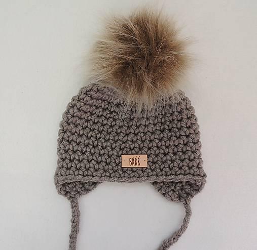 b7034cadb Šedo hnedá detská zimná čiapka s kožušinkou / terilh - SAShE.sk ...
