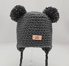 Detské čiapky - Tmavo šedá zimná detská čiapka macko - 9669830_