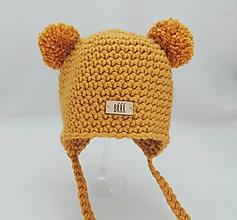 Detské čiapky - Horčicová zimná detská čiapka macko. - 9669872_