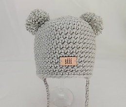 Detské čiapky - Sivá detská zimná čiapka macko - 9669883_