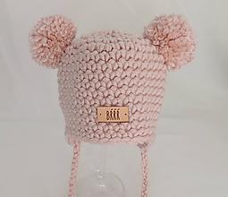 Detské čiapky - Svetlá ružová zimná detská čiapka macko - 9669896_