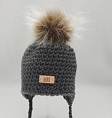 Detské čiapky - Tmavo šedá detská zimná čiapka s kožušinkou - 9669948_