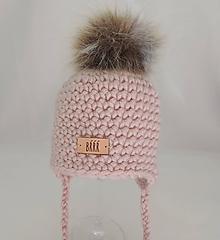 Detské čiapky - Jemná ružová detská zimná čiapka s kožušinkou - 9670002_