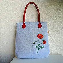 Veľké tašky - Džínsová taška na A4 Vlčí mak - 9670040_
